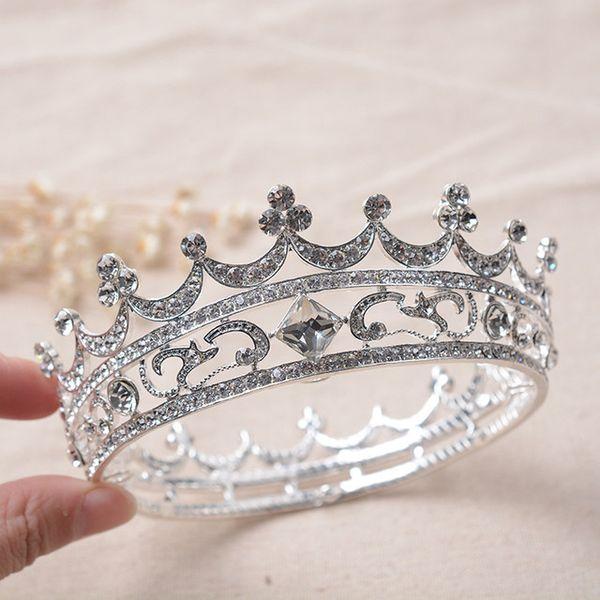Lujo de cristal de plata ronda nupcial tiaras corona mujeres tocado rey barroco Rhinestone Pageant corona boda accesorios para el cabello
