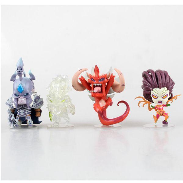 4 pièces / set Q Version Durotan Ogrim Doomhammer luminescence induction Art Artisanat anniversaire PVC cadeau d'action Modèle de collection Toy 7-9cm BOX G459
