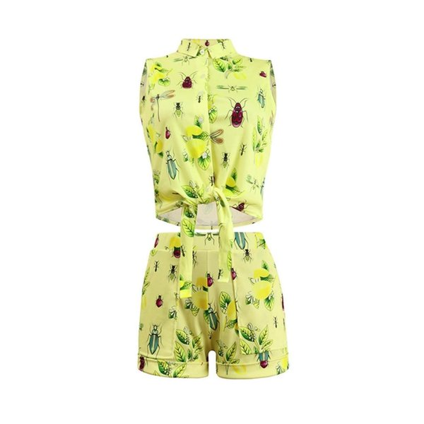 Set estivo da donna Sexy Insetto Stampa Papillon giallo 2 pezzi Set Crop Top e Shorts Due pezzi vestiti delle donne di moda