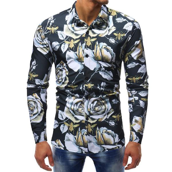 2019 rétro Floral Imprimé Homme Casual Chemises Mode Classique Hommes Robe Chemise Respirant Tops Manches Longues Hommes 2XL 3XL