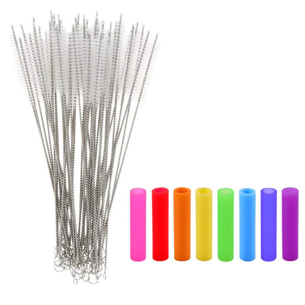 """top popular 175mm 20mm 240mm Cleaning Brush Colorful Silicone Tips For 10.5"""" 8.5"""" Stainless Steel Metal Straws 2021"""