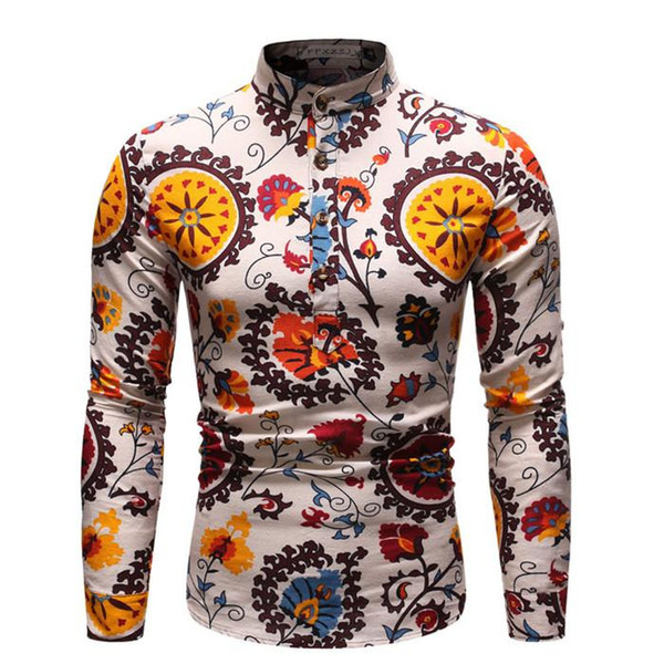 Mens Spring Designer Casual Shirts Long Sleeve Floral Print Turn Down Collar Homme Clothing Fashion Style Casual Apparel
