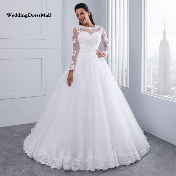 Ball Gown 2 in 1 Wedding Dresses 2019 Detachable train Lace Appliques Pearls Bridal Gowns Vestido De Novias Vestidos de Noiva