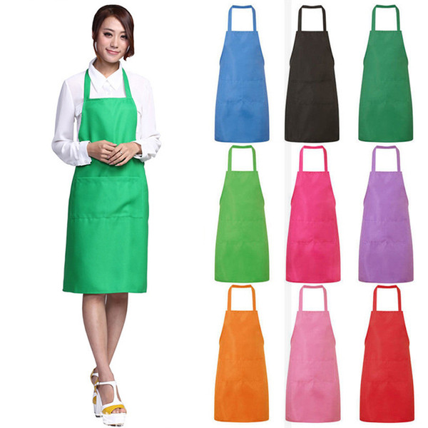 Adult Kids Kitchen Aprons For Woman Man Work Clothes With Pockets Solid  Color Chef Butcher Restaurant Cooking Baking Hairdresser Apron Aprons  Recipes ...