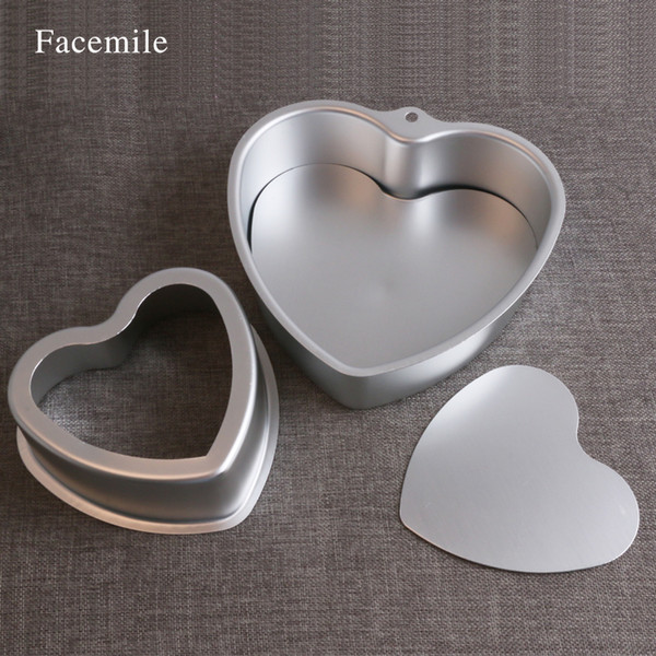Facemile Love Heart Shape Stainless Steel Cake Mold Baking Pastry Molds Bakeware DIY Non-Stick Cake Pan Two Size Can Choose Gift