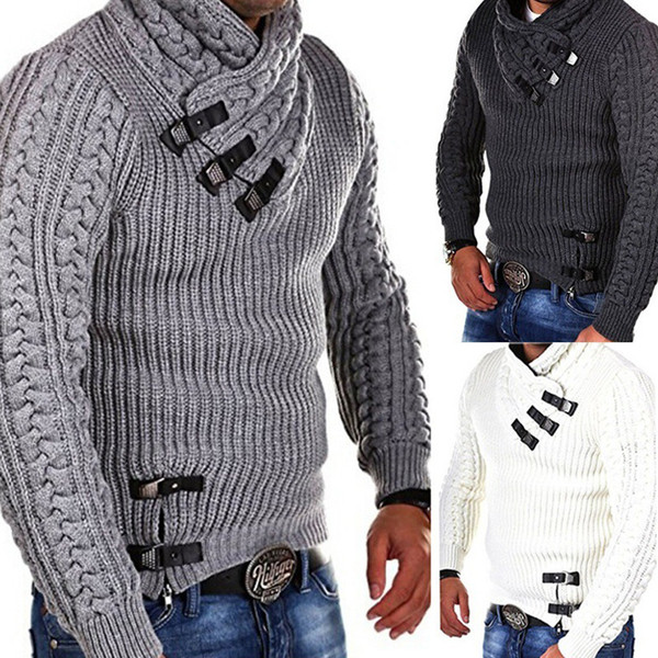 Korean Fashion Men Sweater Winter Spring Thick Warm Knitted Wool Pullovers Sweaters For Men Streetwear Casual Mens Clothing A370