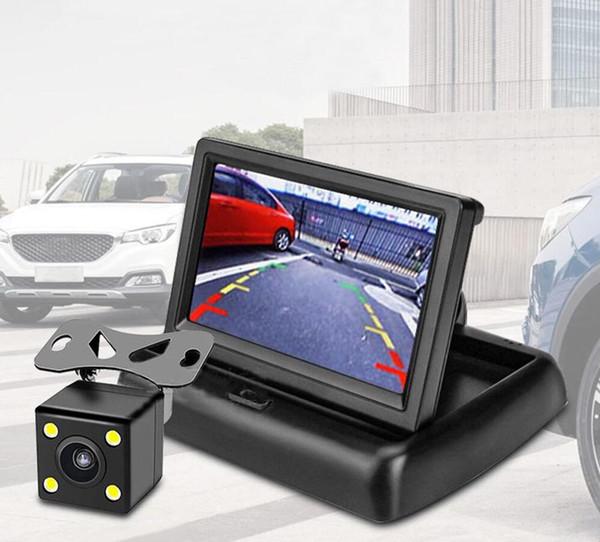 Invertir el coche Accesorios para el coche pantalla de imagen de 4,3 pulgadas plegable con 12 voltios Ver 4 luces trasera impermeable que invierte la cámara de alta definición