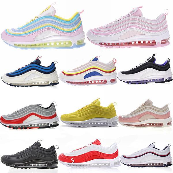 Genç kalp 97 Ayakkabı Koşu Spor Sneakers 97 S Tasarımcı Erkekler Kadınlar Için Siyah Gümüş Beyaz Gül pembe kutusu Ile