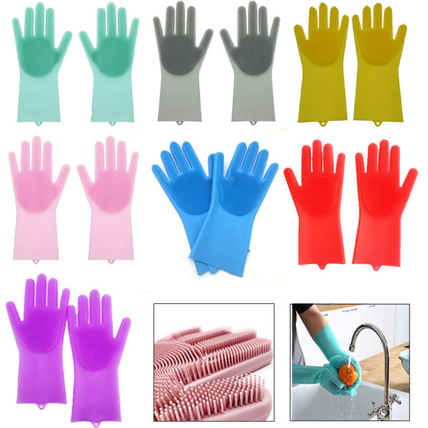 2pcs/pair Magic SakSak Silicone Dish Washing Cleaning Gloves Heat Resistant Scrubber Glove Great for Dish wash Cleaning Pet Hair Care