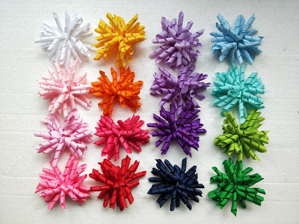 100pcs girl's baby curlers ribbon hair bows flowers clips corker hair barrettes korker ribbon hair ties bobbles accessories PD007