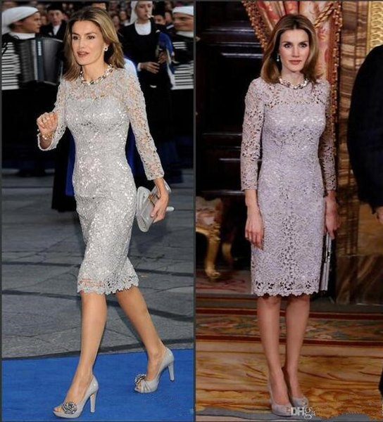 2019 modest Gray mother of bride dresses Elegant Long Sleeves full Lace Groom Knee Length Mother Gowns Robe De Soiree Formal Prom Outfits