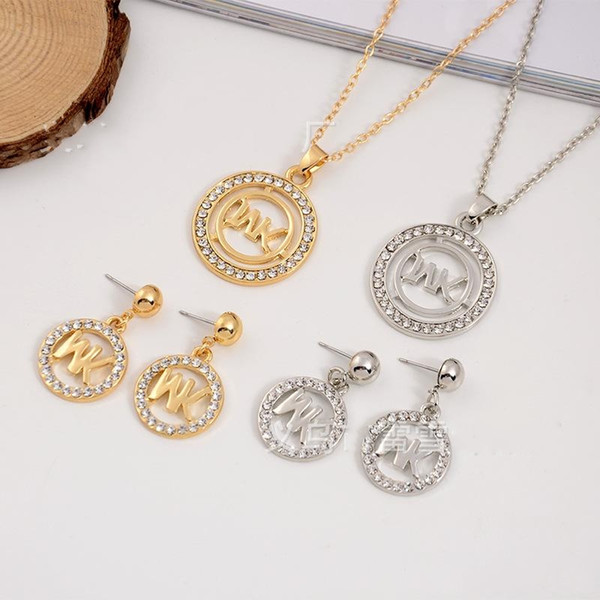 2019 Europe and the United States big gold M letter square shape diamond necklace pendant earrings jewelry two pieces jewelry set polishing