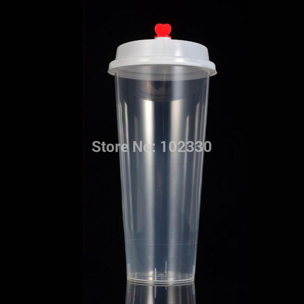 500 unids desechables vasos de plástico con tapas jugo de café té lechoso para bodas del partido espesar bebidas frías calientes taza