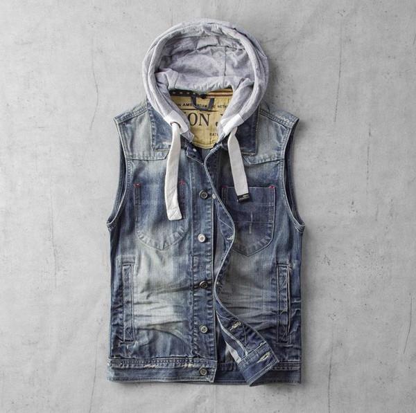 fe26414912f Весна лето с капюшоном мужчины жилеты карманы дизайн джинсовые пальто  Мужские хлопок тонкий мотоцикл байкер рукавов