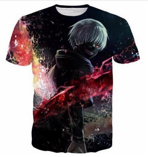 New Fashion Men / Women Anime Tokyo Ghoul Funny 3D T-shirt Casual Short-Sleeve T-Shirt Summer Tops RZC0118