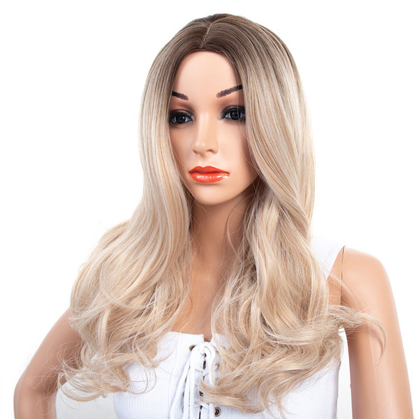 24inch machine made wigLarge roll hair Big wave sleeve middle length curly hair european weave Ombre Color synthetic wig