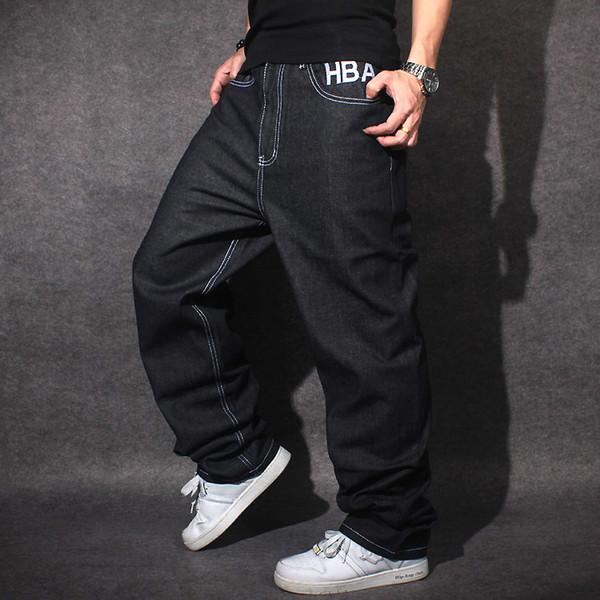 2019 Black Color Baggy Jeans Straigth Loose Denim Fashion Street Dance Style High-End Jeans Hip-Hop Rap Men Pants Clothing