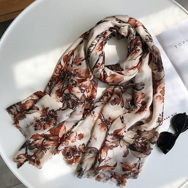 2018 Sonbahar Kadın Eşarp Moda Retro Çiçek Viskon Atkılar Kadınlar Baskı Şal ve Sarar Bayan Fular Müslüman Hicap