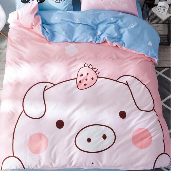 2019 Fashion Brand Classic Pig Cool Bedding Set Letter Soft Bed Linen Duvet Cover Pillowcases Bed Sheet Set Home Textile Coverlet 4PCS/Set