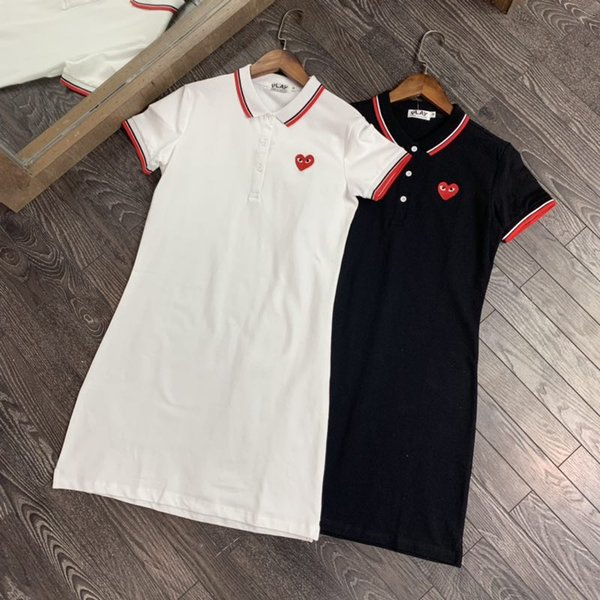 2019 new small red heart dress female long black and white pink embroidery POLO collar slim short-sleeved T-shirt skirt shirt dress