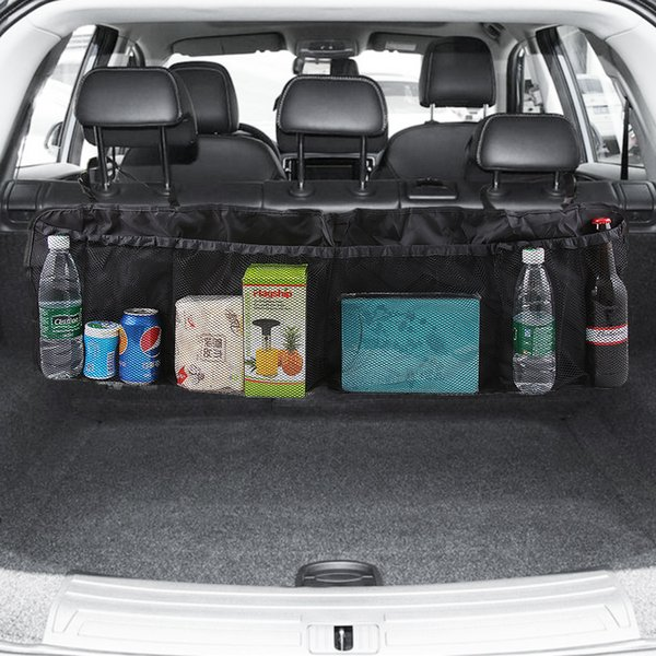 Car Trunk Back Seat Organizer Bag SUV Net Mesh Storage Stowing Tidying Floding Pockets Trash Automobile Bags In Cars Accessories