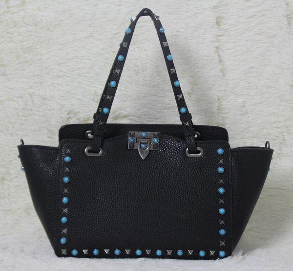 high quality~ w332 s/l genuine leather gem stud tote shopping bag black