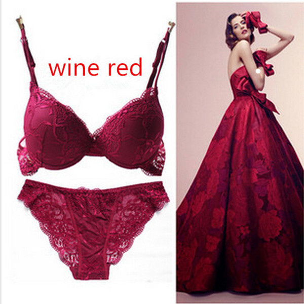 6 Colors Set Push Up Solid 32A-38C Bra Women Deep V Lace Decro Underwire Outfit Sexy Lace Bra Set For Free Shipping