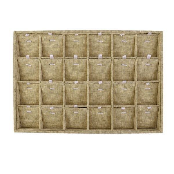 24Slots Perfect Earring Necklace Pendant Chain Bracelet Jewelry Display Tray Box Container Case Makeup Container Organizer Linen