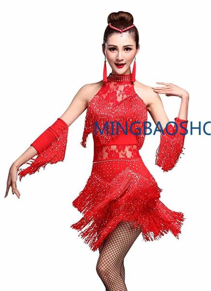2019 Women's Rhinestone Tassel Flapper Latin Rumba Dance Dress 4 Pieces Outfits Dress+Bracelet +Earrings+Headwear