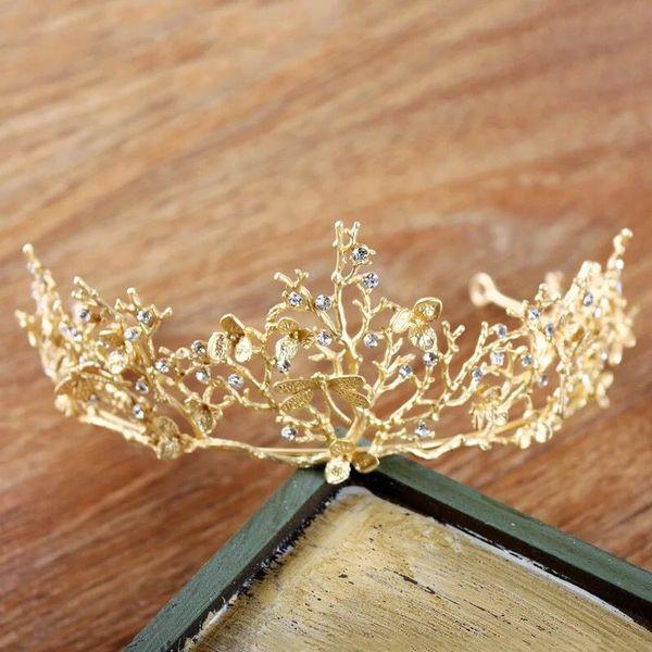 Vintage Gold Baroque Wedding Bridal Crown Hair Accessories Dragonfly Tiara Bridesmaid Girls Rhinestones Headdress Crown Headband