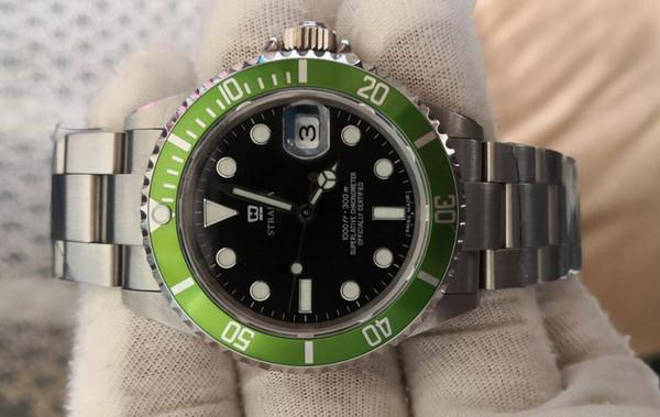 Relógios antigos Mens Automático 2813 Antigo Relógio Homens Verde Preto Liga Moldura de Aço 50th Aniversário 16610LV BP Fábrica Dive relógios de Pulso