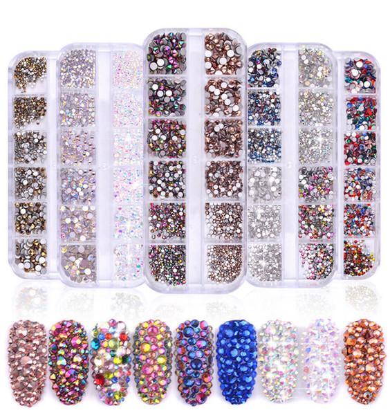 NA053 1 Boîte 1440PCS Mixte taille strass art cristal diamant flatback lunettes paillettes Charms Partition rouge bleu AB strass