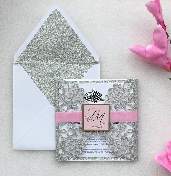 Customized Laser Cut Silver Wedding Party Invitations Card Marriage Engagement Invitation Cards Express Shipping Y19061704 Birthday Card Messages