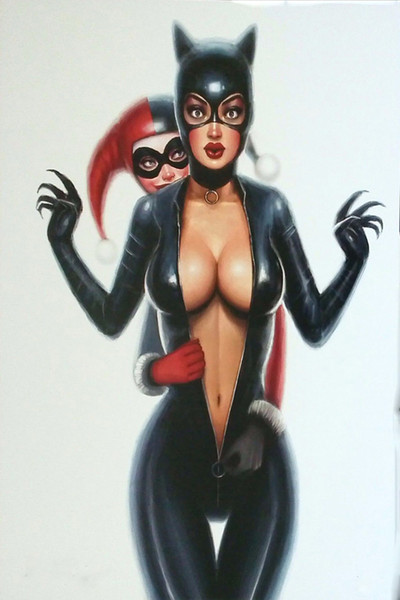 Acheter Dessin Animé Art Caractère Harley Quinn Et Catwoman Noire Reproduction De Peinture à L Huile De Haute Qualité Giclee Print Sur Toile Moderne