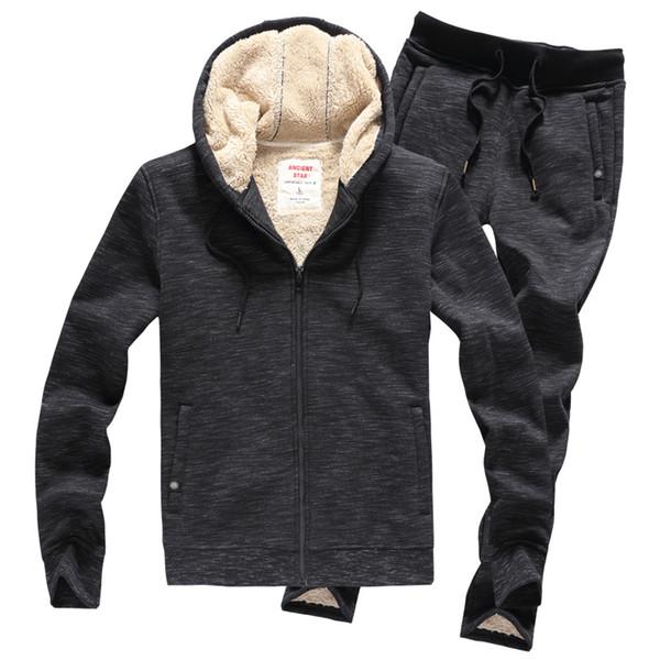 tracksuit men trainingspak mannen chandal hombre survetement velvet thick warm hoodies jacket+pants 2 pieces set jogging homme