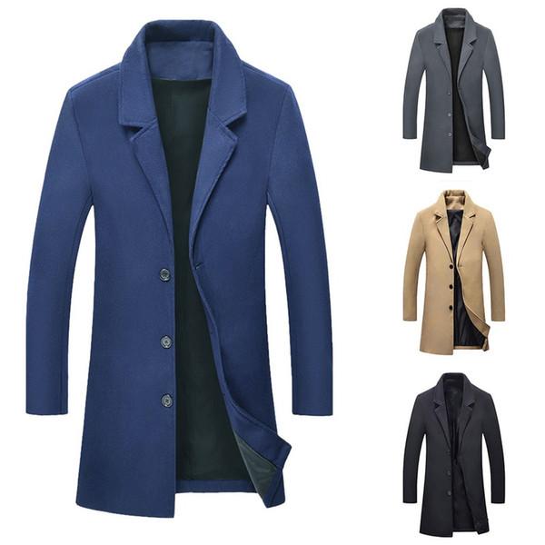 best selling 2019 New Autumn Winter Warm Jacket Wool Long Coat Men Casual Warm Black Business Overcoat Mens Stylish Woolen Jackets Parka Male