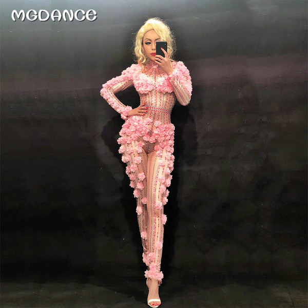 Sexy Pink Flowers Spandex Stretch Rhinestones Jumpsuit Sexy traje de las mujeres traje de la etapa traje de la danza del funcionamiento de los mamelucos