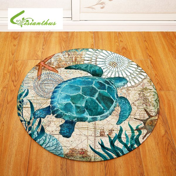 Sea Turtle Octopus Printed Round Carpet for Living Room Computer Chair Area Rug Children Play Tent Floor Mat Cloakroom Rug