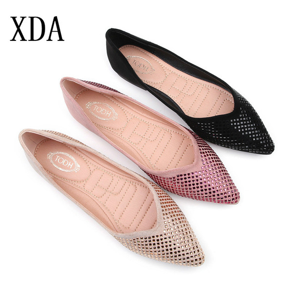 32a263ec96869 XDA 2019 Women Casual single Shoes Crystal Flats Pointed Toe Women's Shoes  Suede Ballet work Flat
