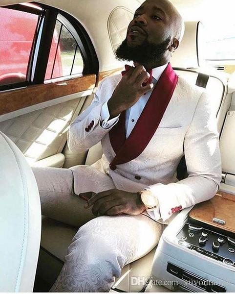 Fait sur mesure Blanc Rouge Floral Hommes Costumes scène Costumes de mariage Tuxedo formelle Epoux Groom Prom Skinny doux 2 Piece Blazer (veste + pantalon)
