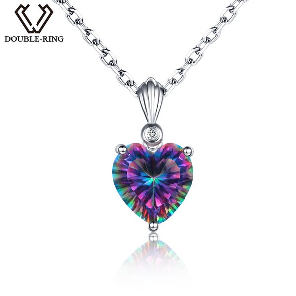 DOUBLE-R Rainbow Fire 3.2ct Created Mystic Topaz 925 sterling silver Heart Necklaces&Pendants for Girls Wedding Party women Fine Jewelry