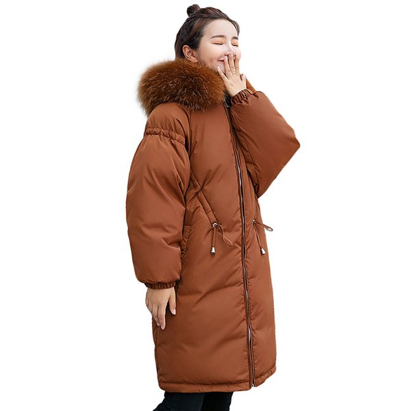 Big Colorful Fur Coat Hooded Slim Cotton Padded Jacket Coat Female Thick Long Down Parkas Outwear 2018 New Winter Jacket Women