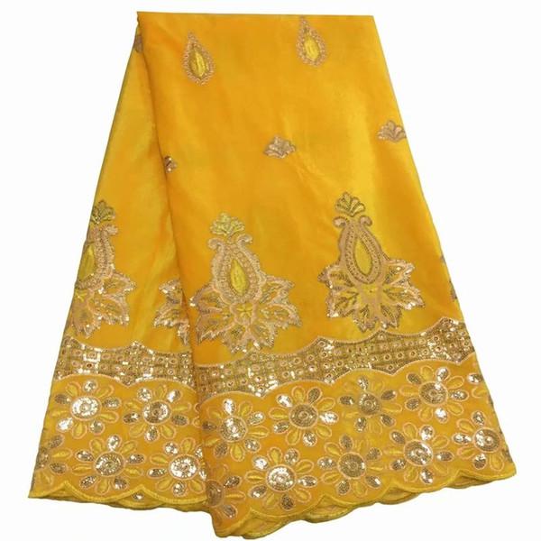 Tecido de Renda Africano de Ouro amarelo 2019 de Alta Qualidade Tecido de Renda de Veludo Francês Com Lantejoulas Tecido de Renda Para O Vestido de Festa de Casamento