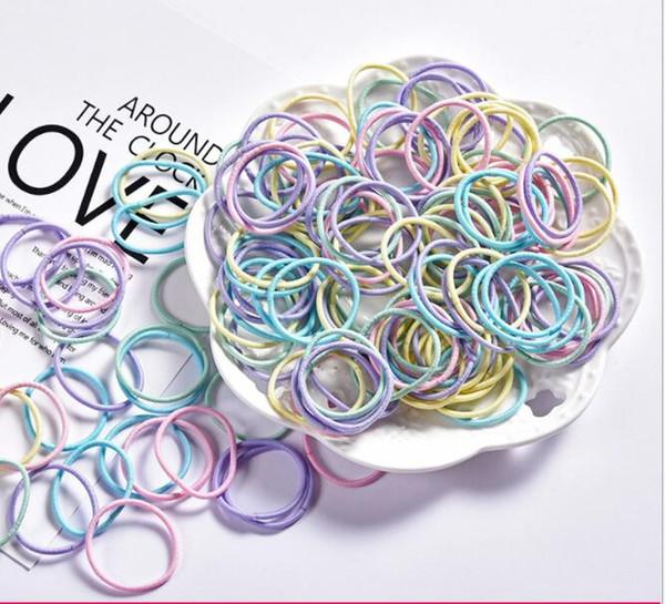 Venda quente 100 peças de cor sem costura de alta elástico nylon corda de cabelo cor misturada