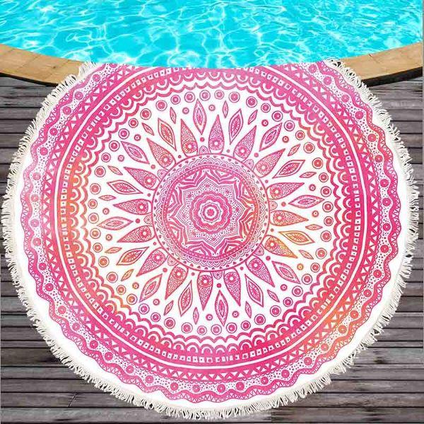 Pembe Mandala Yuvarlak Plaj Havlusu Güneş kremi Bohemian Çember Serviette Piknik Halı Yoga Minderi Güneş Koruyucu Kamp Banyo Havlu T191112