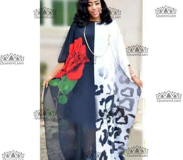 2018 Новая мода Роза шаблон шифон Супер размер платья Африканский Сыпучие Long Dashiki Традиционная партия для леди