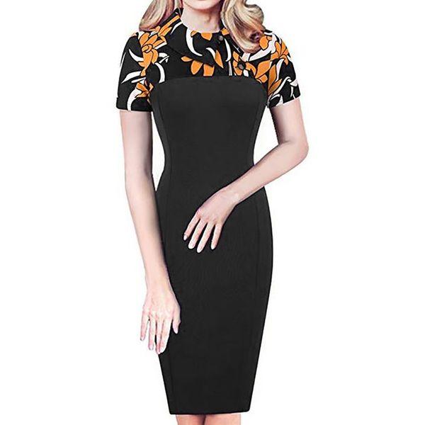 Retro Chic Colorblock para mujer Vestido de túnica de carrera Vestido de verano elegante para las mujeres Hasta la rodilla Vestidos delgados
