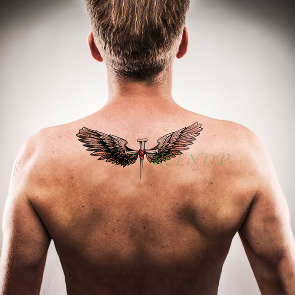 Dragao Tattoo Etiqueta Do Tatuagem Temporária à Prova D água Anjo Asa Pena Cruz Falso Tatto Flash Tatoo Grandes Tatuagens Braço Pé Para Trás Para