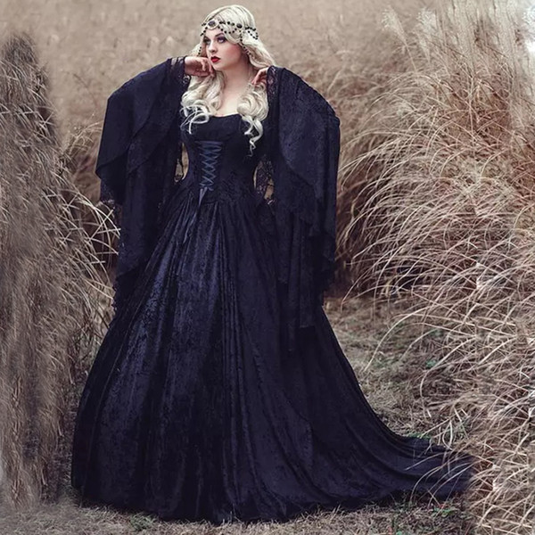 Gothic Black ball gown Prom Dresses Off the Shoulder lace long sleeves plus size Formal Dress Evening Wear vampire Elegant mask Party Gowns