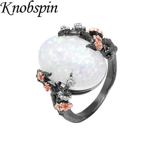 vintage black gold white fire opal tree flower wedding rings for women fashion cz stone plum blossom ring gift jewelry